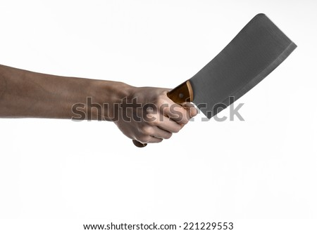 hand holding knife meat cleaver kitchen stock photo 221229496 shutterstock. Black Bedroom Furniture Sets. Home Design Ideas