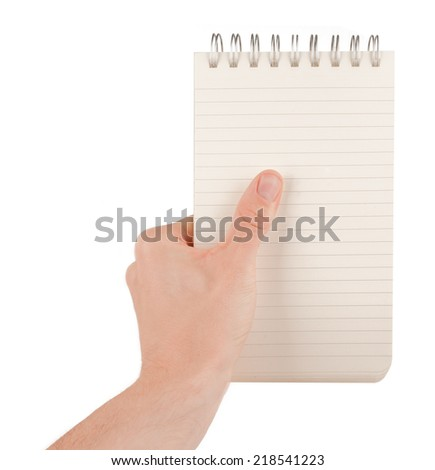 Hand holding an empty journal binder (notepad or notebook) isolated on white