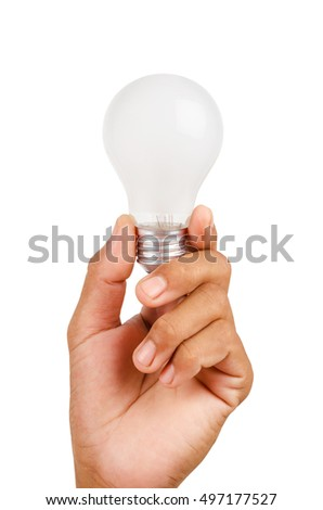 Hand holding an incandescent light bulb isolated on white background, Save clippint path.