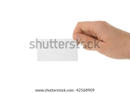 Hand holding blank business card with clipping path