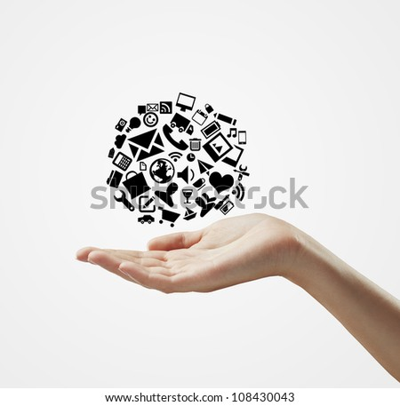 hand holding cloud symbol on a white background
