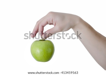 Hand Holding Green Apple, isolated on white background, clipping path