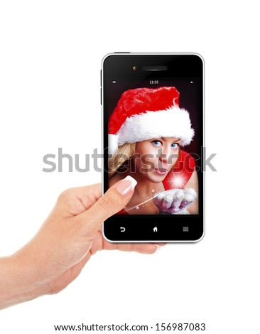 hand holding mobile phone with christmas woman isolated over white background