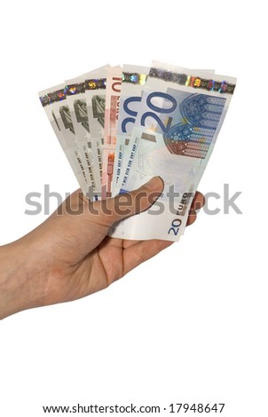 hand holding money in a white background