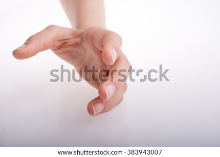 Hand holding on a white background