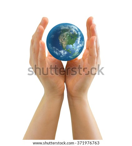 Hand holding realistic small globe symbolizing environmental care, facing North America - Elements of this image furnished by NASA