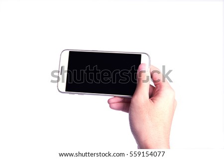 hand holding silver phone with isolated screen.