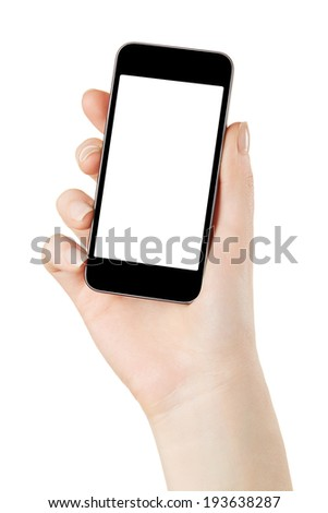 Hand holding smart phone with blank screen isolated on white, clipping path included