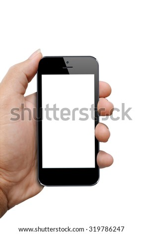 hand holding smartphone with clipping path screen