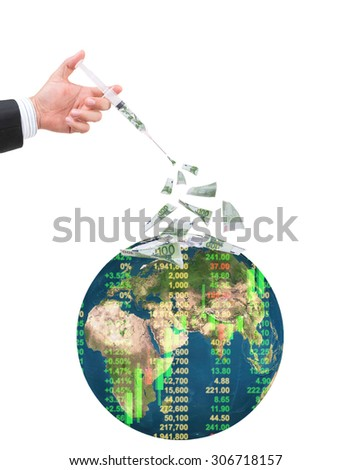 hand holding syringe filled with currency on white background.Elements of this image furnished by NASA.