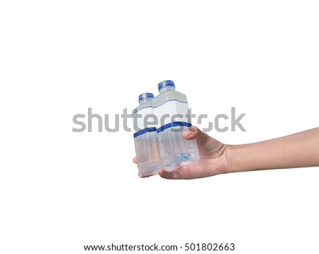 Hand holding water bottle, isolated
