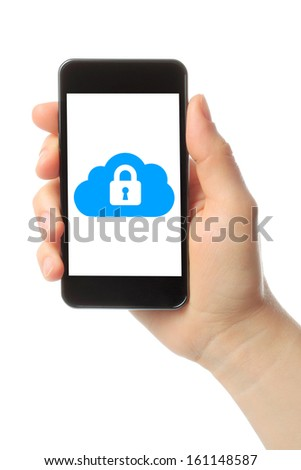 Hand holds smart phone with cloud security concept on white background