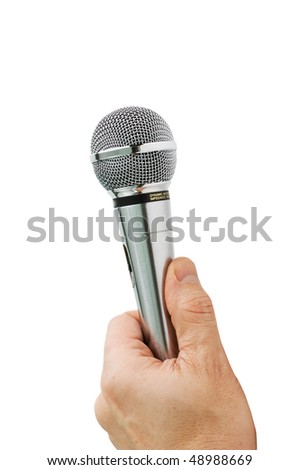 hand holds the microphone isolated on white background