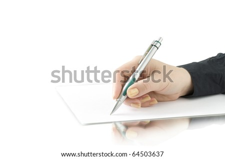 hand keep pen and writing on the page isolated on white and reflection
