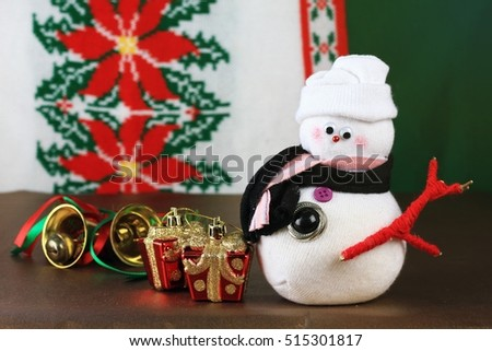 Hand made snowman doll, Christmas decoration.
