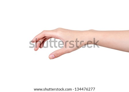 Hand of a caucasian female to hold card, mobile phone or other palm gadget, isolated on white