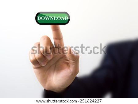 hand of business pushing a button on a touch screen interface on download button air