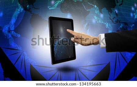 hand of businessman pointing to tablet with satellite dish and world map  background