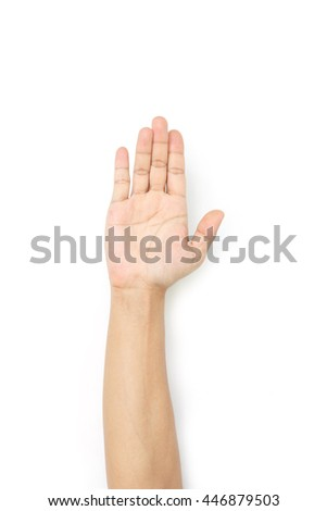 hand of man symbol show or five on white background.