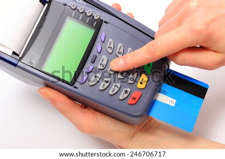 Hand of woman using payment terminal, enter personal identification number, credit card reader, finance concept