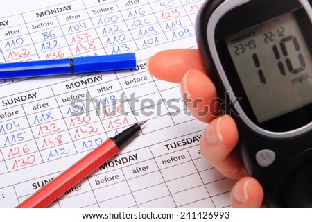 Hand of woman with glucose meter and medical form with results of measurement of sugar, concept for measuring sugar level