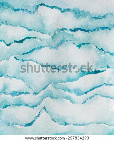 Hand paint watercolor wave pattern. (Can be used as texture for cards, invitations, DIY projects, web sites or for any other design)