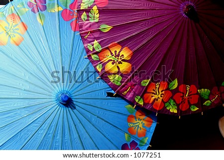 Hand painted colorful umbrellas in central Java Indonesia