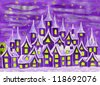Hand painted illustration, watercolours, fairy town in violet colours, can be used as illustration for children's fairy tales, Christmas picture, etc. - stock photo