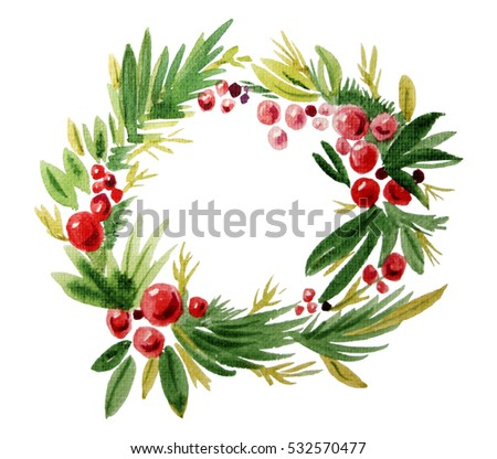 Hand painted in watercolor green and red Christmas wreath in clear white background