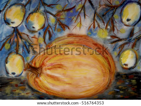 Hand painted orange pumpkin and yellow apples in the tree