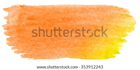 Hand painted watercolor brush stroke abstract yellow orange   background on textured paper