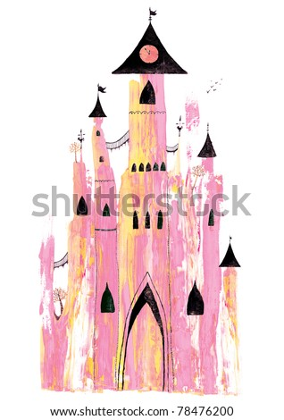 Hand painting pink castle.