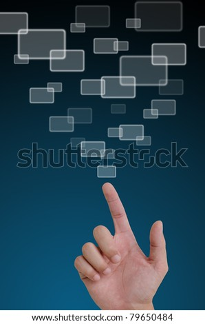 Hand pointing  a button on a touch screen interface.