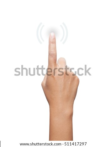 Hand pressing a button . Business, technology, internet concept. Stock Photo