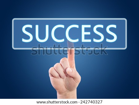 Hand pressing Success button on interface with blue background.