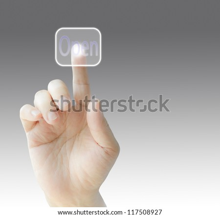 "Hand pressing  virtual ""Open"" buttons on virtual screen , isolated background"