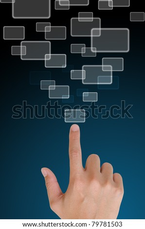 hand pushing a button email on a touch screen interface in wide world.