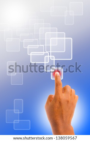 hand pushing button on a touch screen interface