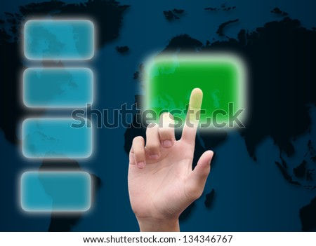 hand pushing button on abstract the world technology