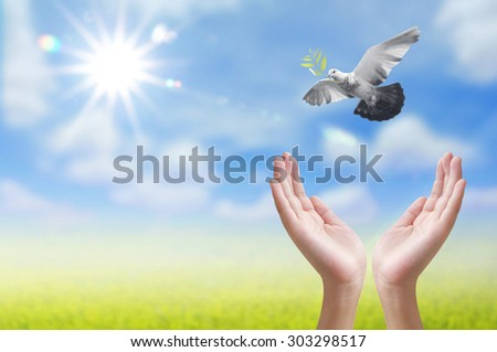 Hand releasing a bird into the air , concept design