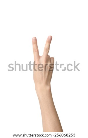 hand sign of number two, isolated on white