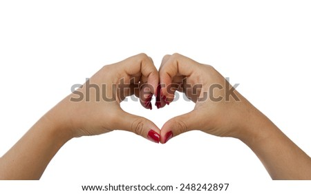 Hand symbol love on a white background
