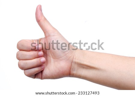 hand thump up isolated on white background