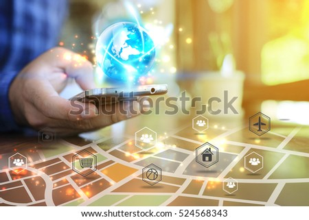 Hand touch screen smart phone. Social media concept. map on smart phone