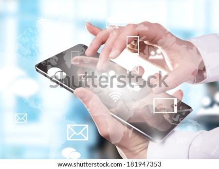 hand touching digital tablet, modern technology concept