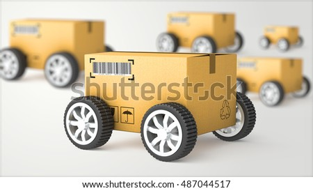 Hand Truck with Cardboard Box and Wheels - High Quality 3D Render for use in presentations, education manuals, design, etc. 3D illustration