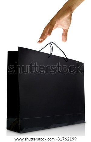 Hand wanted the glaze paper shopping bag on white background, Shopping concept