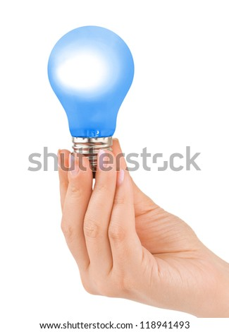 Hand with blue lamp isolated on white background