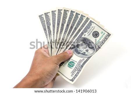Hand with money, 100 dollar bills
