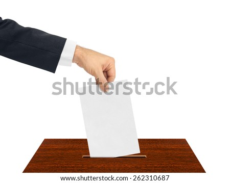 Hand with paper ballot isolated on white background